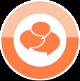 Oranger Kreis mit Sprechblasen-Symbolen