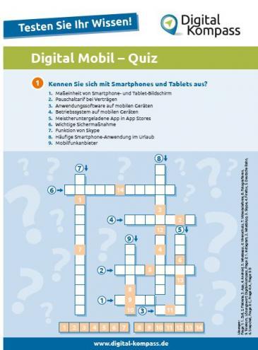 Erste Seite des Digital Mobil Quizes
