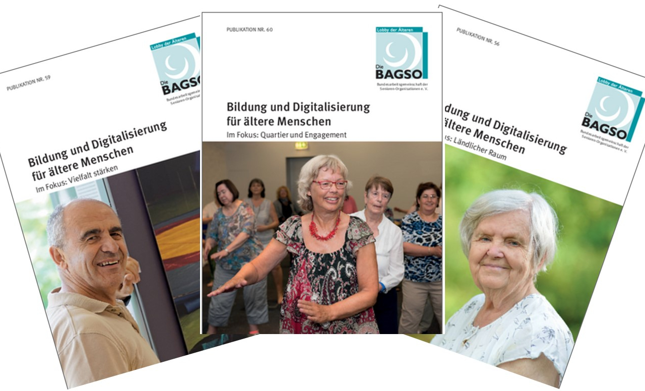 Cover der drei BAGSO Themenhefte Digitalisierung und Bildung